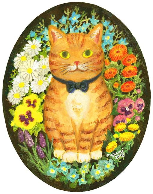 A Cat in the Flower Garden